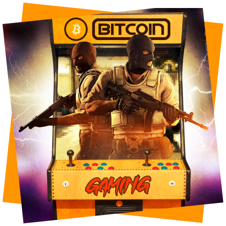 Rendering of a Bitcoin arcade cabinet with CounterStrike dudes poppijng out of it